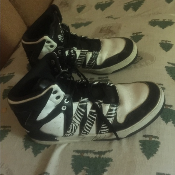 adidas Other - adidas 7 1/2 zebra hightops basketball shoes 7.5